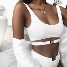 Cute Vacation Swimwear Trendy Crop Tank Top Buckle Strap High Waisted Bikini for Teens for Women in Black or White - www.GlamantiBeauty.vom #swimwear