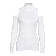 Olivia Turtle Neck Cold Shoulder Knitted Ribbed Sweater Top - White - www.GlamantiBeauty.com
