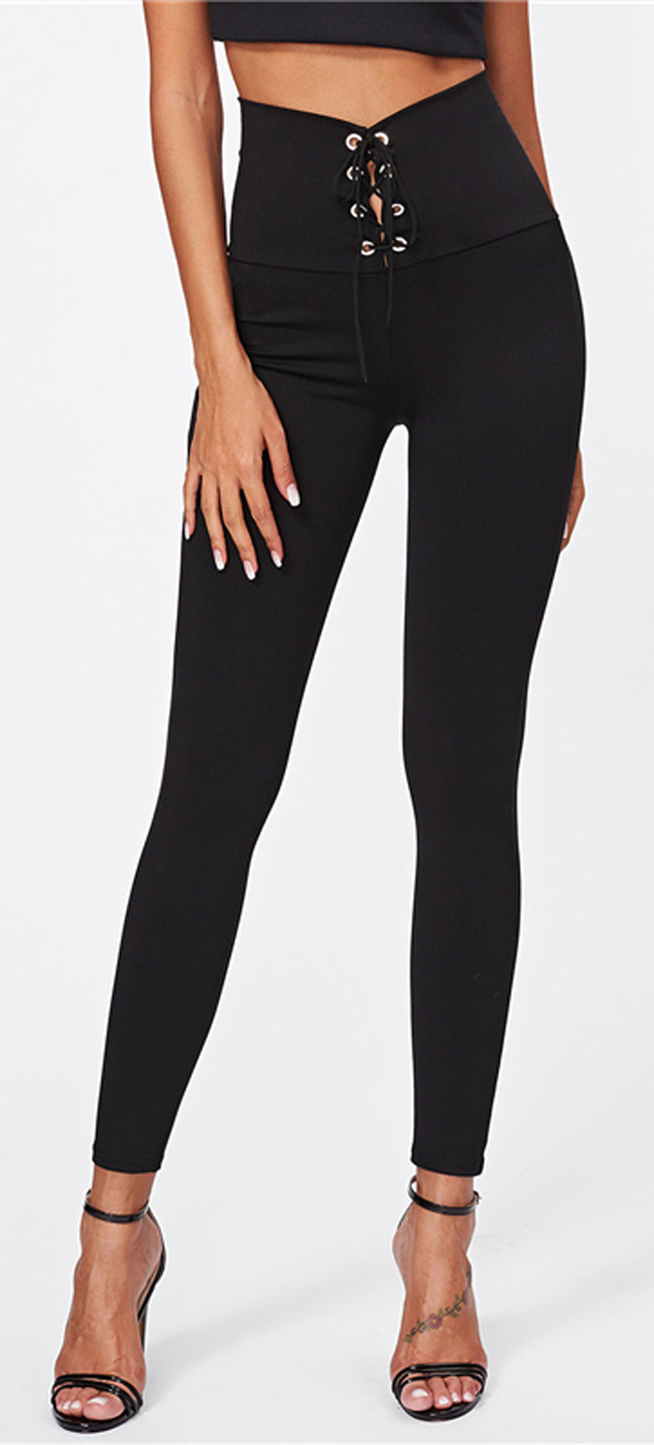 7dc071538d ... Cute Baddie Outfit Ideas for Women - Hot Lace Up High Waisted Leggings  in Black ...