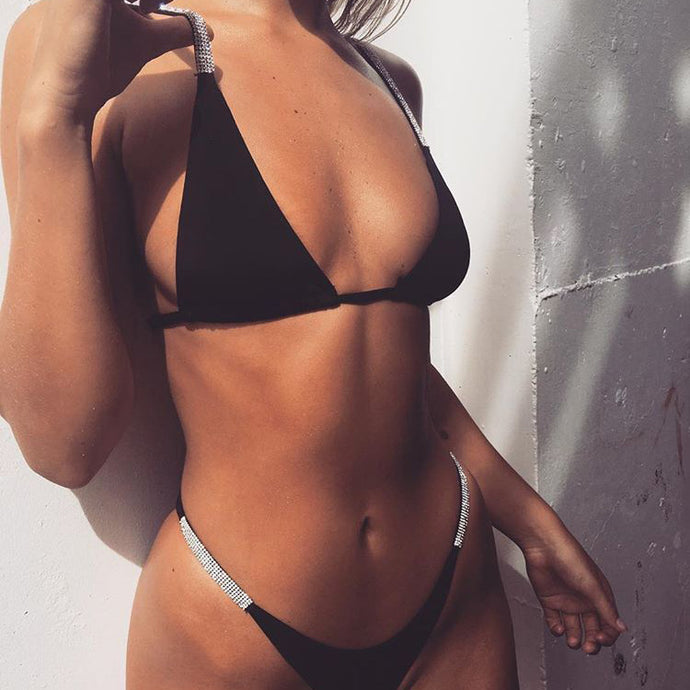 Sexy Beach Outfit Ideas for Vacation 2018 Swimwear Triangle Two Piece Glitter Bikini for Teens for Women in Black or White - www.GlamantiBeauty.vom #swimwear
