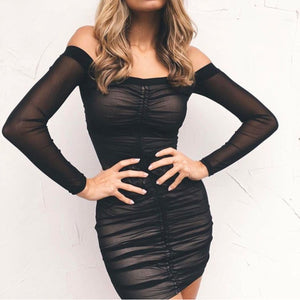 Hot Baddie Clubbing Party Dresses for Summer 2018 - Tight Black Mesh Mini Dress Rutched in Black or White - vestido de fiesta - www.GlamantiBeauty.com