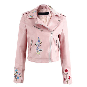 Tess Flower Embroidery Motorcycle Cropped Leather Jacket - Pink - www.GlamantiBeauty.com