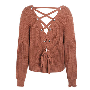 Cute Outfit Ideas for School Betsy Criss Cross Back Lace Up Oversized Sweater - www.GlamantiBeauty.com - Burnt Red Orange Brown