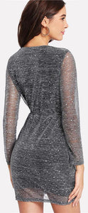 Classy Evening Dresses Outfit Ideas for Women for Cocktail Party - Beautiful Elegant Glitter Sheer Mini Wrap Tie Up Robe Dress with Long Sleeves - Vestidos elegantes de noche Ideas de vestimenta para mujer - www.GlamantiBeauty.com