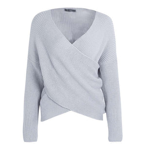 Rory Oversized Wrap Knitted Sweater Top - Grey - www.GlamantiBeauty.com
