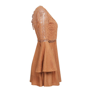 Cute Boho Tan Crochet Mini Summer Dress Outfit Ideas - Spring Casual Modest Boho Bohemian Hippie Indie Style Fashion Music Festival -  ideas de trajes bohemios y moda - www.GlamantiBeauty.com