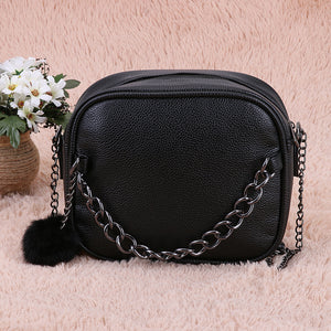 Juliette Classy Crossbody Zip Chain Shoulder Purse Bag with Fur Pom in Black - www.GlamantiBeauty.com