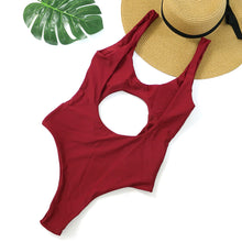 Cute Cut Out Keyhole Swimsuit for Women for Juniors Teens One Piece Cheeky Monokini in Red - Trendy Beach Outfit Ideas - www.GlamantiBeauty.com #swimwear