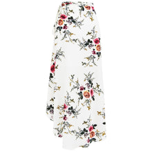 Paisley Boho Vintage Floral Flower Print Slit Long Wrap Maxi Dress in White - www.GlamantiBeauty.com