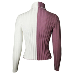 Emmi White & Mauve Split Ribbed Turtle Neck Cropped Long Sleeve Sweater - www.GlamantiBeauty.com