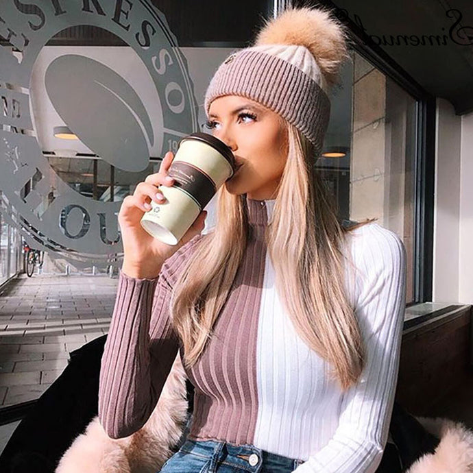 Cute Fall Winter Outfit Ideas for Teens Girls Split Color Turtle Neck Sweater Pom Hat - lindas ideas de ropa de invierno para mujeres - www.GlamantiBeauty.com