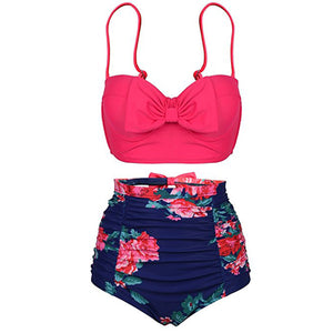 Slimming High Waisted Bikini for Teens for Women Retro Vintage 90s Floral Bow Two Piece Swimsuits -www.GlamantiBeauty.com #swimwear