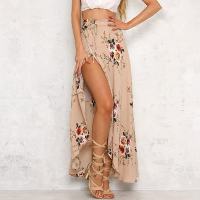 Boho Chic Fashion Summer Outfit Ideas for Women - Vintage Floral Flower Print Long Maxi Skirt - www.GlamantiBeauty.com #skirts