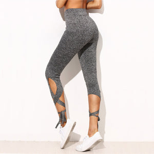 Cute Sporty Workout Outfit Ideas for Women for Teens - Criss Cross Tie Up Cropped Leggings - ideas de atuendo deportivo lindo para mujeres - www.GlamantiBeauty.com
