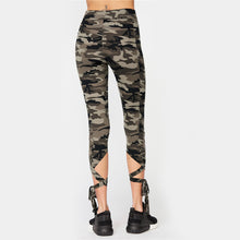 Cute Sporty Workout Outfit Ideas for Women for Teens - Criss Cross Tie Up Cropped Leggings in Camouflage  - ideas de atuendo deportivo lindo para mujeres - www.GlamantiBeauty.com