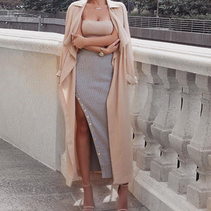 Classy Baddie Outfit Ideas for Going Out - Elegant Party Club Summer Fashion - Knit Ribbed Button Up Side Long Tight Fitted Maxi Skirt - ideas elegantes del equipo para el verano - www.GlamantiBeauty.com #outfits