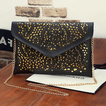 Persella Designer Cut Out Gold Chain Crossbody Flap Envelope Clutch Wallet Shoulder Purse Bag for Fancy Dinner Cocktail Parties Prom Graduation - www.GlamantiBeauty.com
