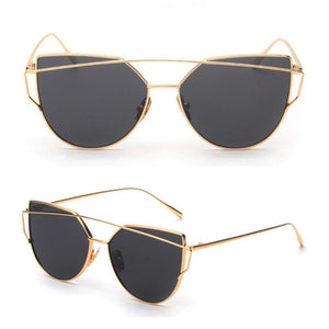 Cheap Designer Cateye Mirrored Lenses Oversized Sunglasses Reflective Mirror - 2018 Classic Summer Trend Trending www.GlamantiBeauty.com - Black & Gold