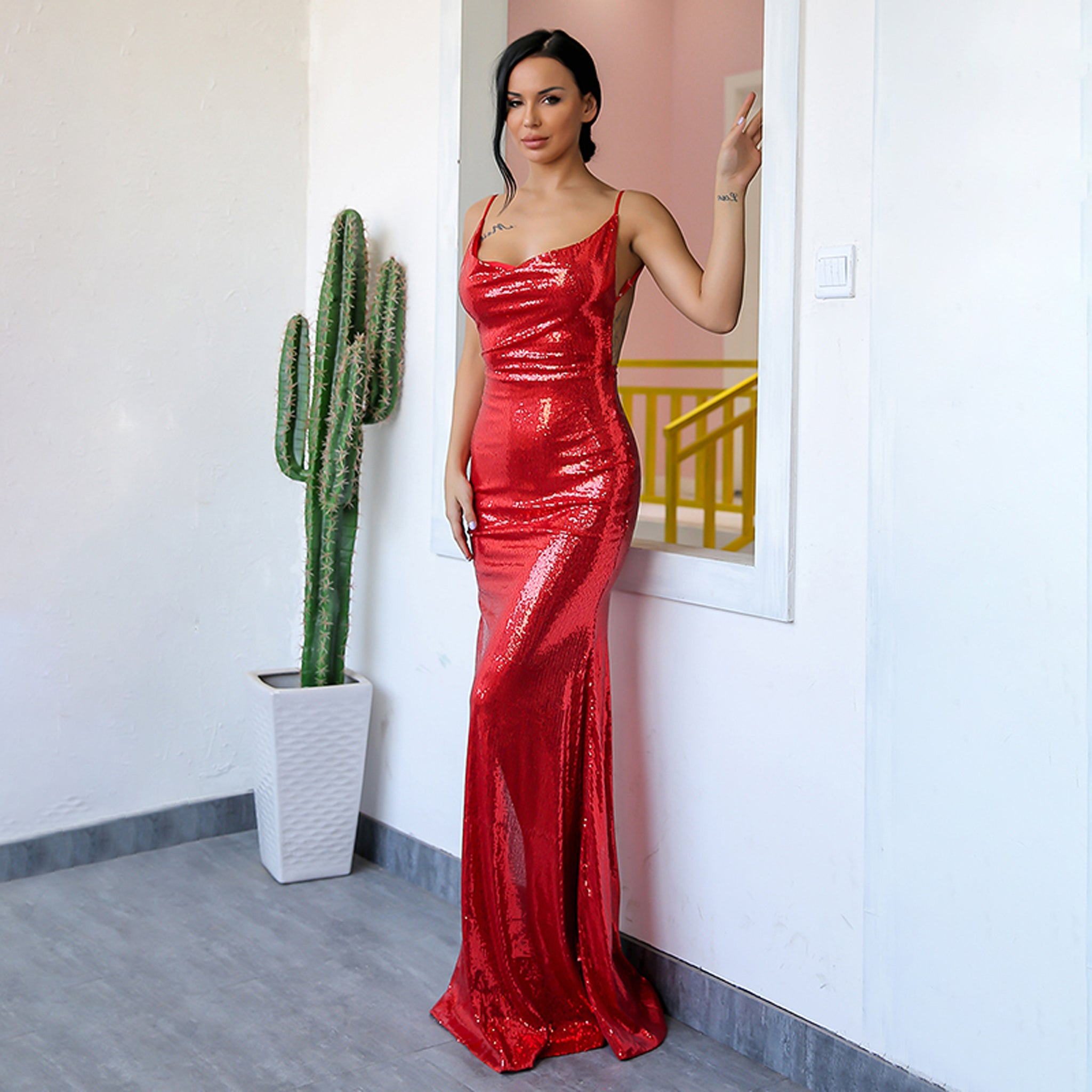 Red Sequin Prom Dresses 2018