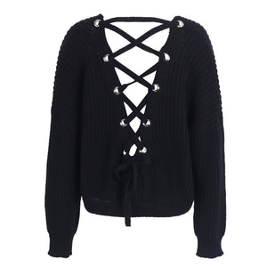 Cute Outfit Ideas for School Betsy Criss Cross Back Lace Up Oversized Sweater - www.GlamantiBeauty.com - Black