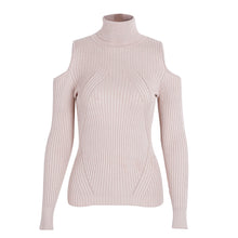 Olivia Turtle Neck Cold Shoulder Knitted Ribbed Sweater Top - Pink - www.GlamantiBeauty.com