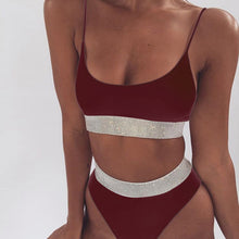Modest High Waisted Bikini Vintage Style Glitter High Rise Two Piece Swimsuit for Women for Teens in Black, White, Burgundy Red - www.GlamantiBeauty.com #swimwear