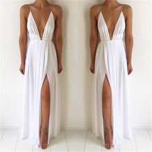 Elegant Formal Long Prom Dresses Outfit Ideas for Teens - Simple Modest Backless White Strappy Chiffon Maxi Dress Cheap 2018 for Homecoming for Graduation - elegantes vestidos de fiesta largos formales Ideas de vestimenta para adolescentes - www.GlamantiBeauty.com