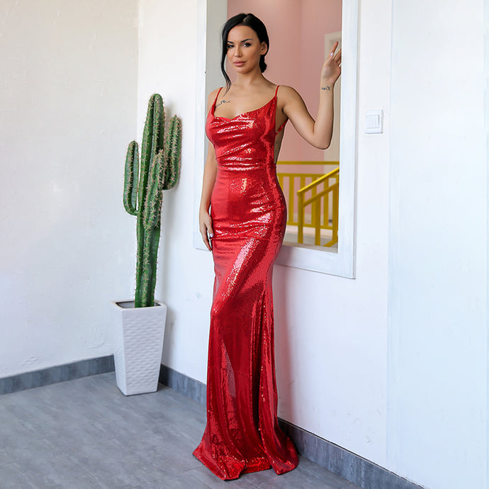 97d336082a41b4 Gorgeous Backless Prom Dresses - Sparkly Sequin Red Tight Fitted Slit Floor  Length Mermaid Maxi Gown