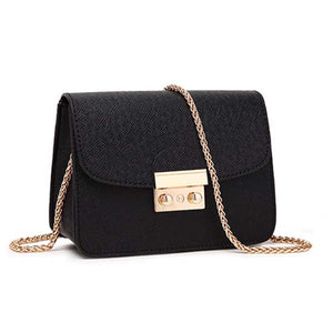 Miranda Cute Gold Lock Crossbody Pleather Chain Flap Shoulder Purse Bag - www.GlamantiBeauty.com