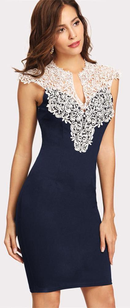 Mary White Crotchet Lace Top Blue Bodycon Fitted Mini