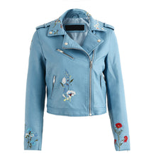 Tess Flower Embroidery Motorcycle Cropped Leather Jacket - Blue - www.GlamantiBeauty.com