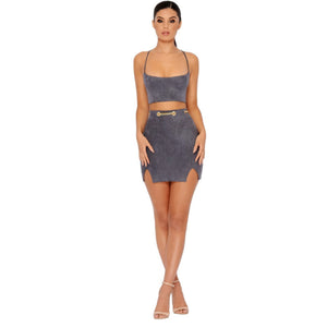 Cute Summer Party Clubbing Outfit Ideas for Teens Chain Belt Red Blue Grey Suede Mini Short Dresses Crop Top High Waisted Skirt Matching Set Spring Dress for Women - www.GlamantiBeauty.com #dresses