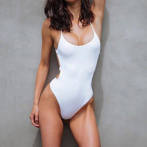 Cheeky Swimsuit Strappy Lace Up Criss Cross Backless One Piece Monokini Bathing Suit for Women - www.GlamantiBeauty.com #swimwear