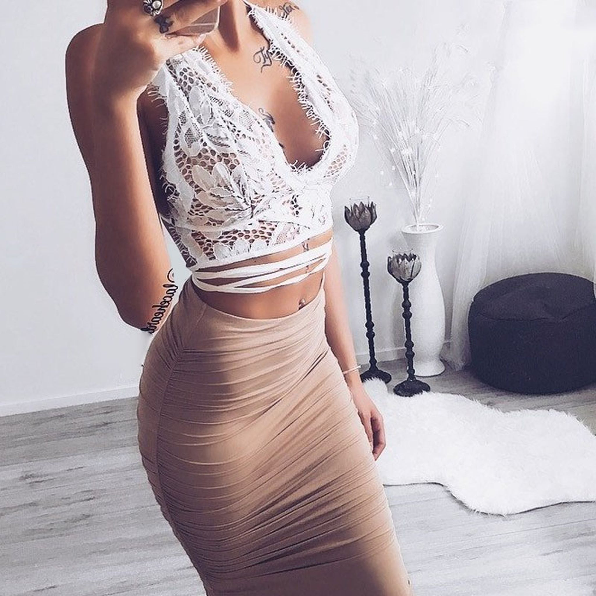 4b93e889cbae8d ... Party Summer Dress Going Out Outfit Ideas for Women Baddie Lace Crop Top  High Waisted Skirt ...