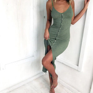 Casual Simple Summer Outfit Ideas for Women for Teens - Trendy Long Maxi Dress Button Up Slit Dresses - vestidos de verano casuales ideas de atuendos para mujeres - www.GlamantiBeauty.com #dresses