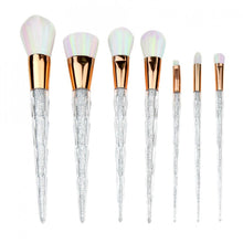 Makeup Products - Unicorn Makeup Brush Set 7 pieces Clear Glitter Silver Rainbow Holographic Product Eyeshadow Contour Face Rainbow Bristles  - www.GlamantiBeauty.com
