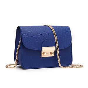 Miranda Cute Gold Lock Crossbody Pleather Chain Flap Shoulder Purse Bag in Blue - www.GlamantiBeauty.com