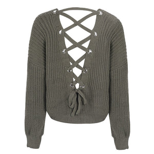 Cute Outfit Ideas for School Betsy Criss Cross Back Lace Up Oversized Sweater - www.GlamantiBeauty.com - Green Olive