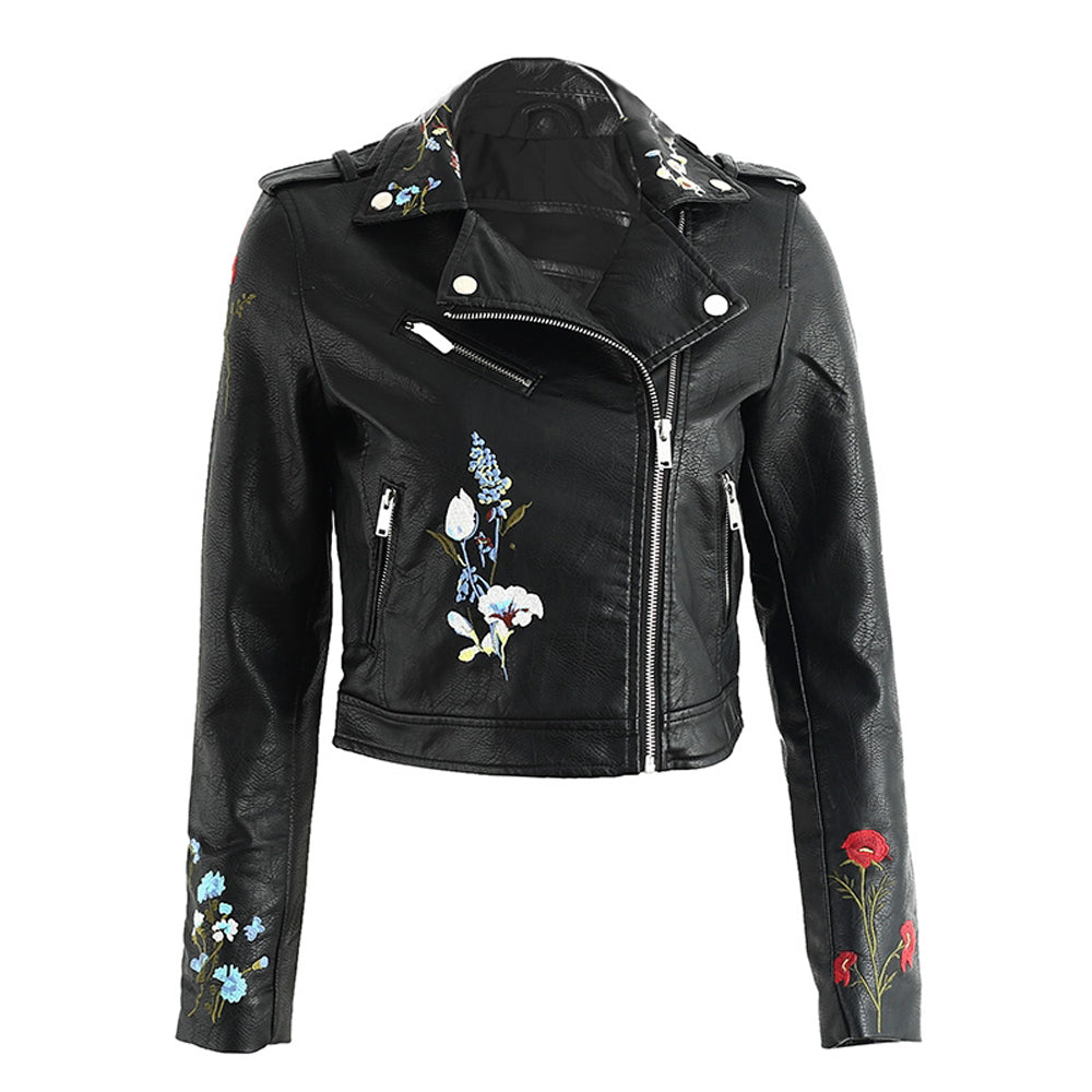Tess Flower Embroidery Motorcycle Cropped Leather Jacket - Black - www.GlamantiBeauty.com