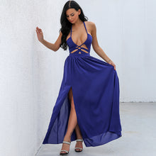 Unique Blue Long Prom Dresses - Beautiful Cutout Halter Neck Deep V Neck Floor Length Gown Maxi Backless Dress with Slit - Vestidos de baile largos azules únicos - www.GlamantiBeauty.com #promdresses
