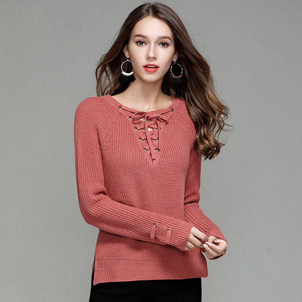 ... Cute Casual Spring Outfit Ideas for Teen Girls for School - Lace Up  Criss Cross Knitted  Cute Casual Fall ... 519ef35f1