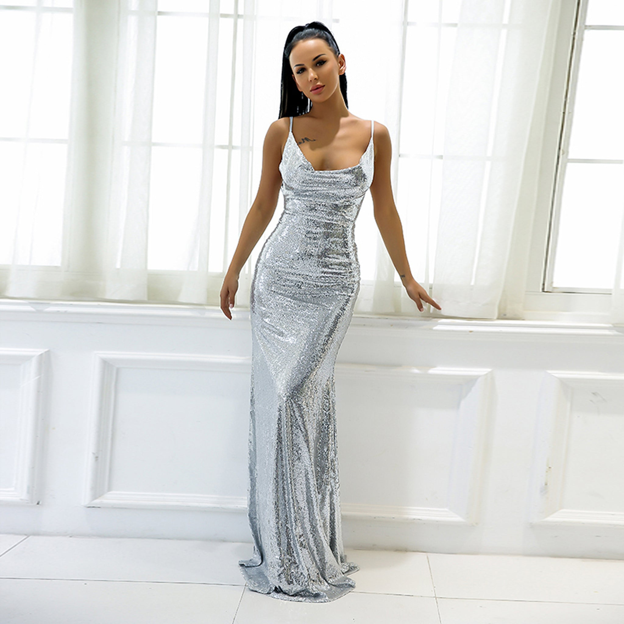 Catabella Sequin Cowl Neck Strappy Open Back Long Maxi Dress ...