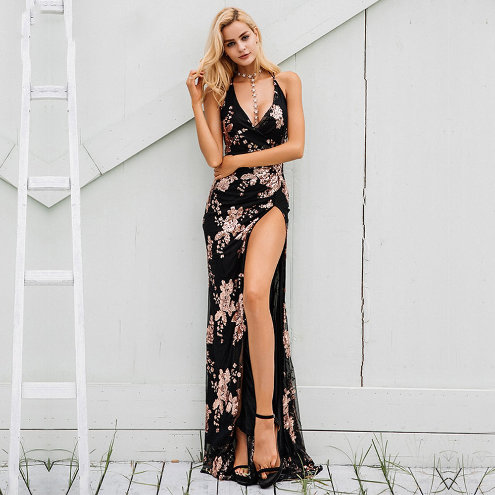 9052f925b6 Victoria Floral Sequin Backless Strappy Slit Maxi Dress – Glamanti ...
