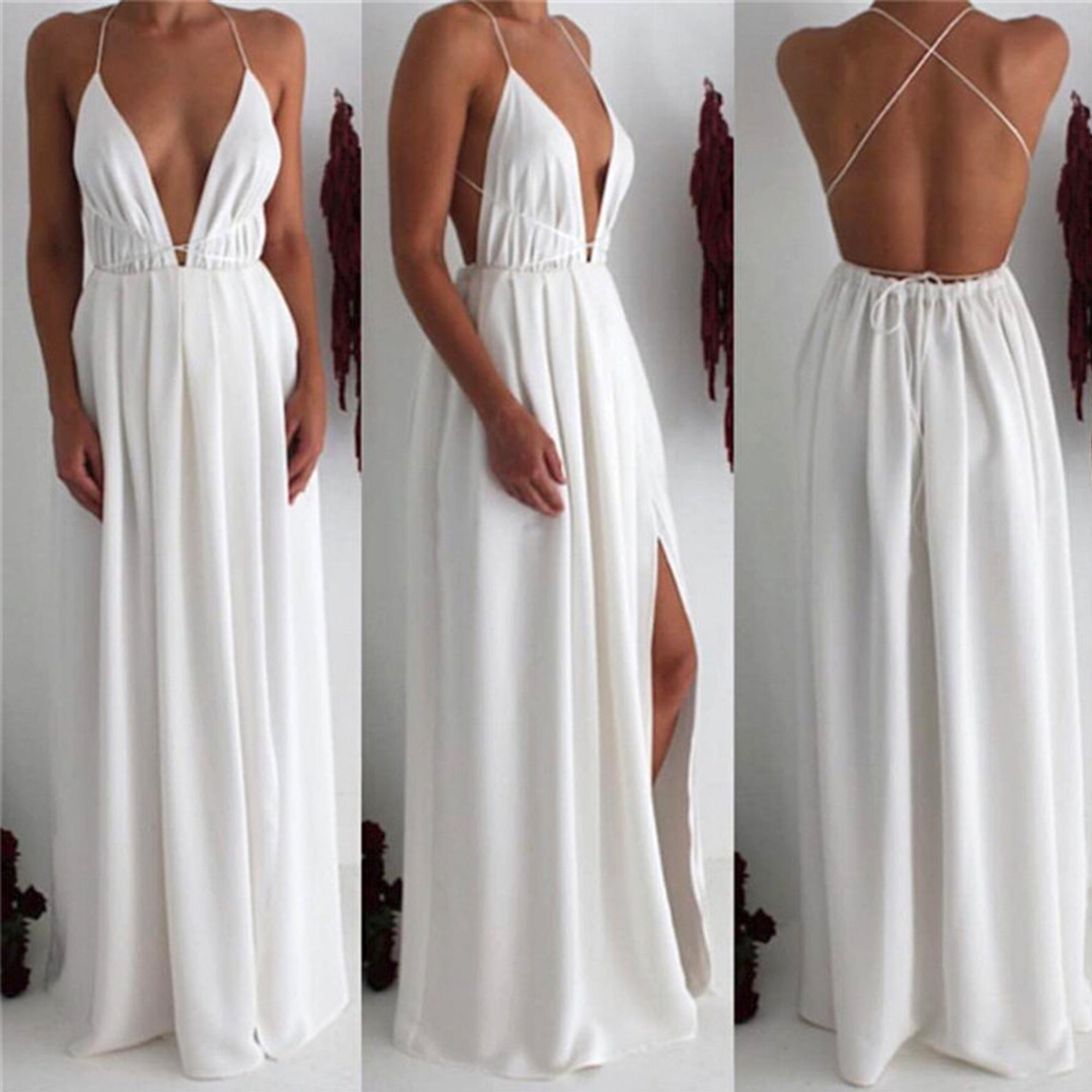 51663d8d77d8 ... Elegant Formal Long Prom Dresses Outfit Ideas for Teens - Simple Modest  Backless White Strappy Chiffon ...