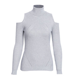 Olivia Turtle Neck Cold Shoulder Knitted Ribbed Sweater Top - Grey - www.GlamantiBeauty.com