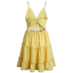 Romy Lace Crotchet Keyhole Bow Knot Tie Up Back Mini Dress Perfect for Summer Vacation Outfit Ideas for Teens in White, Black, Coral, Yellow - www.GlamantiBeauty.com #dresses