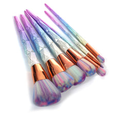 Unicorn Makeup Brush Set 7 pieces Gold Rainbow Glitter Holographic Product Eyeshadow Contour Face - www.GlamantiBeauty.com