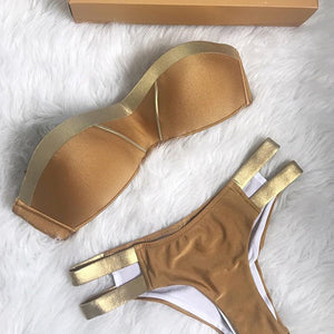 Cute Gold Bikini for Teens - Flattering Hot Sporty Two Piece Bikinis for Small Chest 2018 for Women - lindo traje de baño dorado para adolescentes - www.GlamantiBeauty.com #swimwear