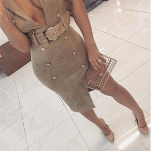 Chic Summer Dresses to Wear to a Cocktail Evening Party for Women - Classy Elegant Spring Nude Grey Suede Button Up Belted Fitted Midi Mini Dress - www.GlamantiBeauty.com #dresses