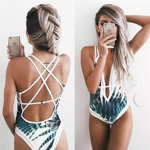 Cute One Piece Mermaid Monokini Leaf Print White Mesh Trendy Strappy Criss Cross Swimsuit for Women Juniors Teens  - traje de baño lindo estampado de hojas blancas - www.GlamantiBeauty.com #swimwear